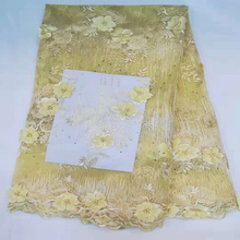 2018 High Quality 3D African Flower Embroidered Tulle Lace Pearls Fabric Latest Nigerian fabric HX1246-2