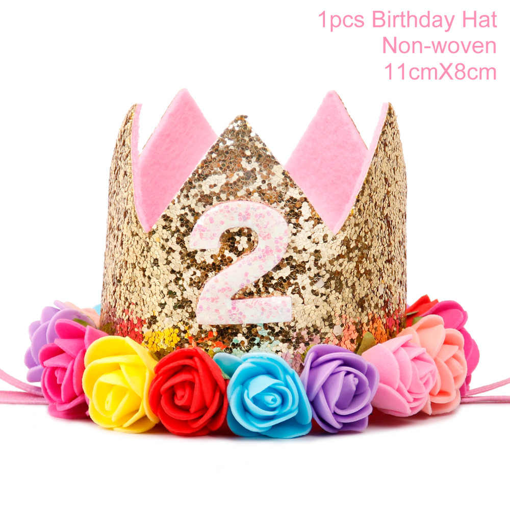 QIFU 2 Birthday Balloons Number Balloon Year Old Kids Blue Boy 2nd Decoration Pink