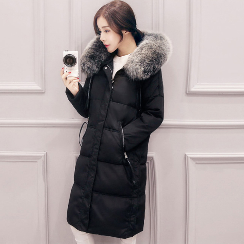 2017 winter Women Big Fur Hooded Thick Warm Winter Long Jacket   Down     Coat   Female White Duck Casual   Down   Outcoat Outerwear QH0899