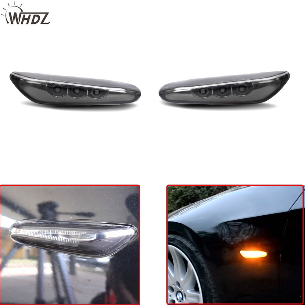 WHDZ 2pcs New LED Side Marker Light Turn Signal Light Fender Lamp for BMW E82 E88 E60 E61 E90 E91 E92 E93 Side Black Amber light 4pcs black led front fender flares turn signal light car led side marker lamp for jeep wrangler jk 2007 2015 amber accessories