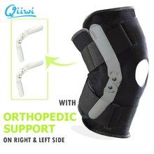 Suporte de joelho para esportes, suporte de joelho profissional, estabilizador com dobradiça interna e flexível, cinta protetora respirável