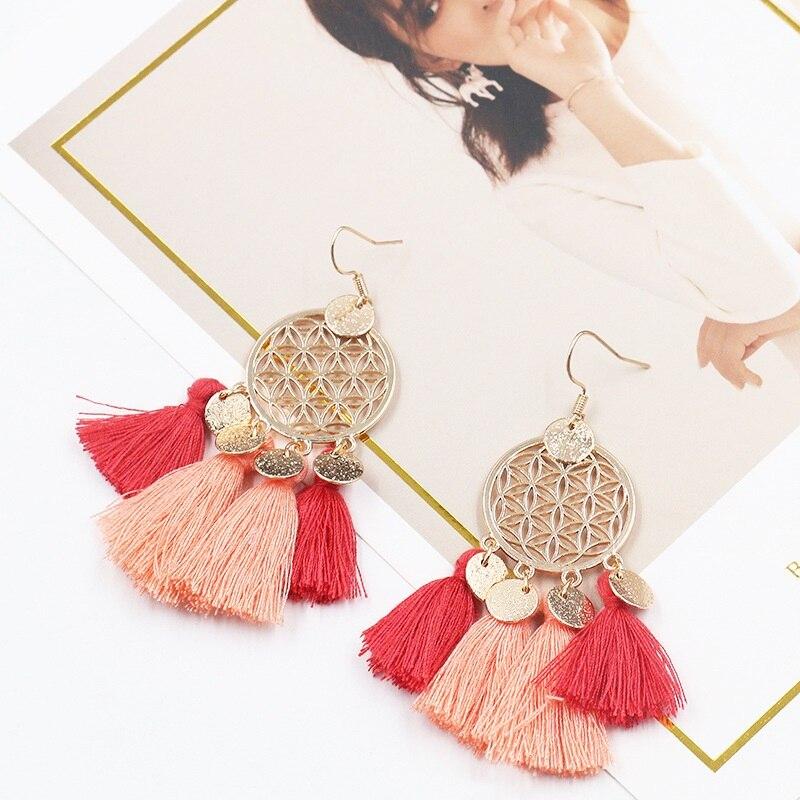 Tassel Drop Earrings Women Bohemia Earrings Female Ethnic Long Big Earrings Fashion Jewelry Statement Vintage Earrings Wholesale