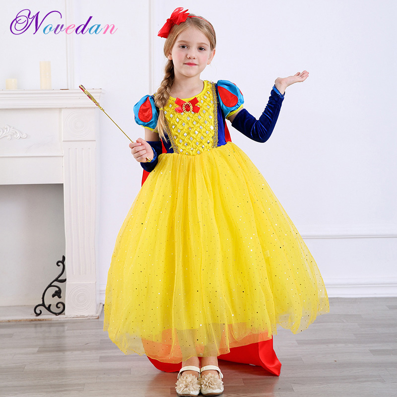 Fantasias Kids Snow White Costumes for Girls Cosplay Party Birthday Prom Princess Dresses with Cloak Role-Play Kid Girl Clothes