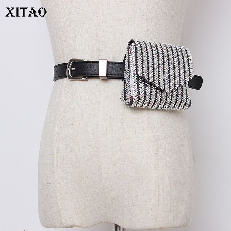 XITAO Women Fashion PU Cummerbunds Korea Fashion 2019 Wild Joker Love Mini Chain Slanting Full Diamond Belt Pocket WLD2141