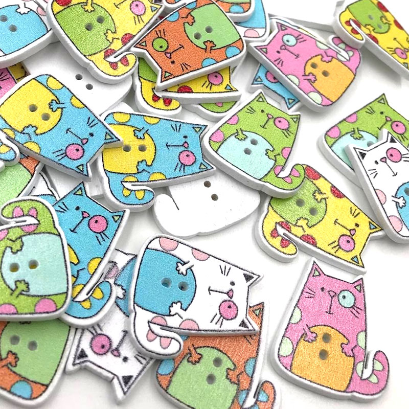 10/50/100pc Mix Animals Cat Kid's/ Baby Wood Button DIY Craft Sewing WB405