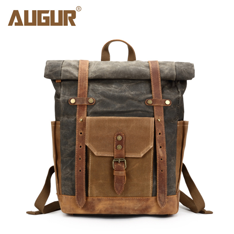 Men's Backpack 17 Inch Laptop Backpack Casual Canvas Retro Crazy Horse Skin Rucksack Vintage Durable Male Travel Bag Men Satchel retro style two front pockets laptop compartment vintage canvas solid color backpack