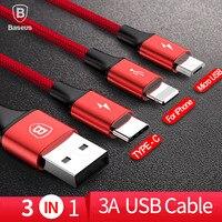 Baseus 3in1 2in1 USB кабель для iPhone X 8 7 6 микро-кабель Тип usb C кабель для samsung S9 S8 быстрой зарядки Зарядное устройство кабель 3A шнур