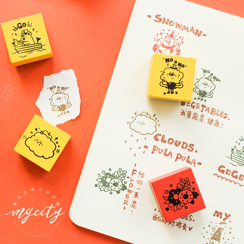 Cartoon Serise Decoration Stamp Wooden Rubber Stamps For Letters Diary Craft Scrapbooking Stationery Standard Stamp