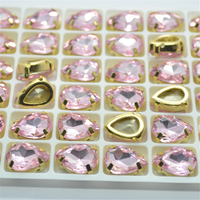 10x14mm Sew On Rhinestones Flatback With Gold Claw Setting Color Light Rose Sewing Crystal Stones Button