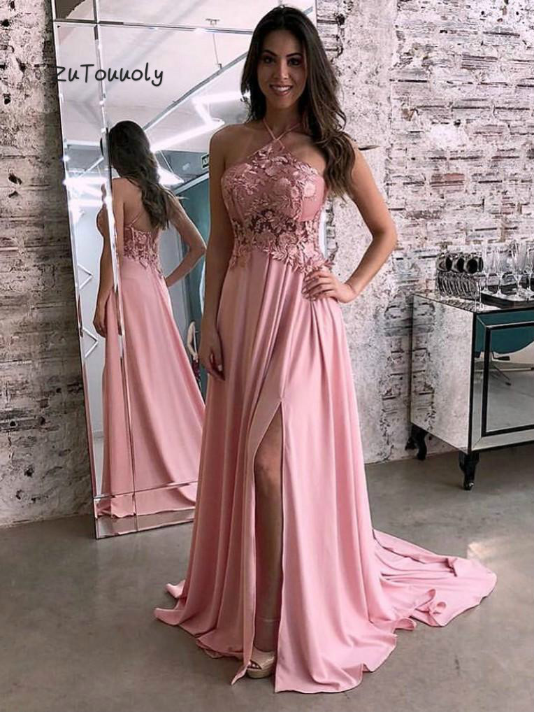 Pink   Evening     Dress   Backless Bachelorette Parties Prom   Dresses   With Slits Lace Cheap Simple   Evening     Dress   2019 New Women Wear