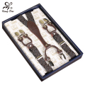 Fashion Women Men's Unisex Clip-on Braces Elastic Slim Suspenders 6 Clips
