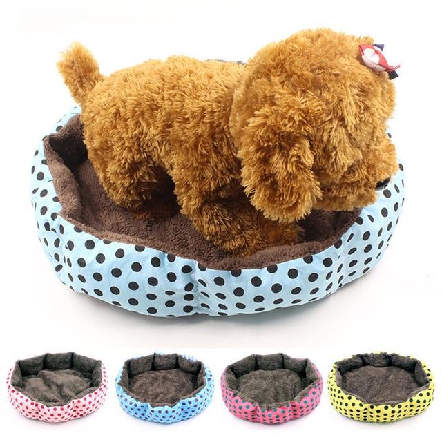 Hot Winter Warm Pet Dog/Cat Bed Soft Fleece Dot Design Pet Nest With Removable Pet Mat Nest Octagon Shape Kennel Cat Puppy