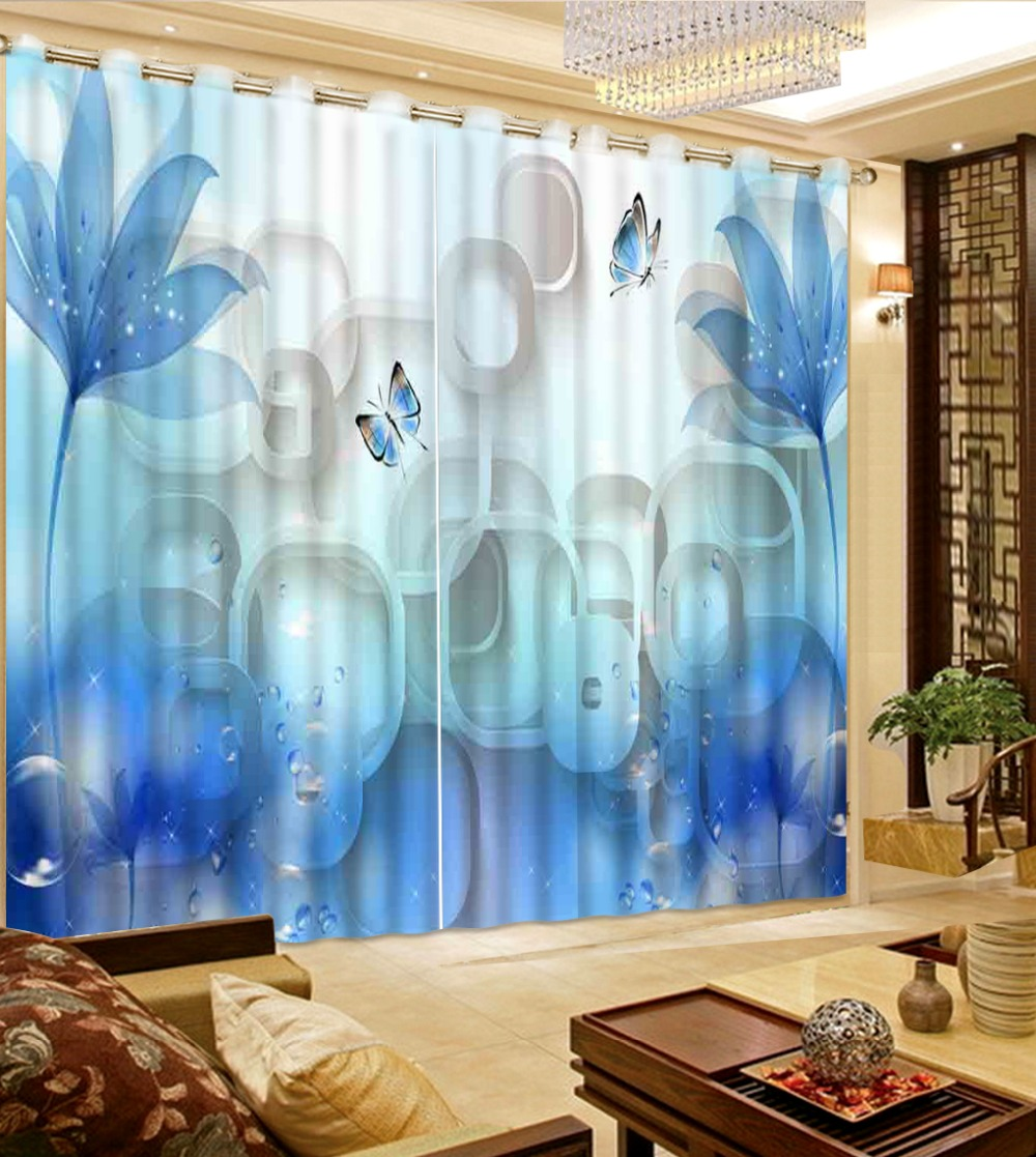 blue flower  Curtains Blackout for Living Room Kids Bedroom Fabric curtains