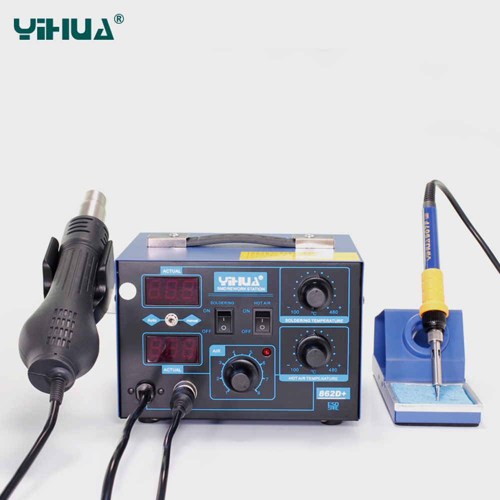 YIHUA 862D+ Soldering Station 2 In 1 BGA Rework Station Soldering Iron Hot Air Gun For IC SMD Desoldering LED digital display CE цены