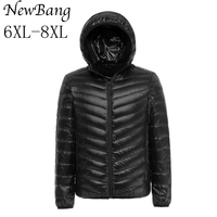 6XL 7XL 8XL Plus Men Ultralight Down Jacket With A Hood Outdoors Winter Parka With Carry