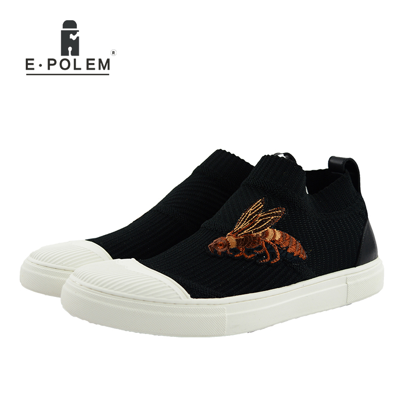 Fashion Loafers Shoes Mens Casual Shoes Hot Sale Elastic Fabric Knitting Socks Slip on Shoes Bee Embroidery Flat Shoes 2017