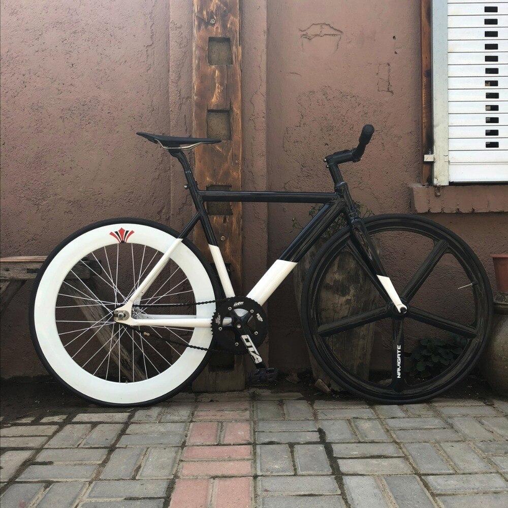 Fixed Gear Bike 54cm 58cm Frame  Single Speed Bike  Frame  Aluminum Alloy Track Bicycle 700C Wheel DIY Color