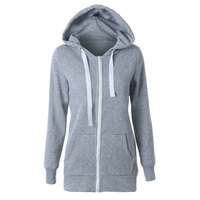 HOT SALE Hoodies Sweatshirt Ladies Women Men Coat Top NEW 2 Colors Unisex Plain Zip Up