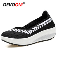 Fashion Comfort Shoes for Women Summer Flats Ladies Loafers Lightweight Plateform Shoes Sneaker Women Black Breath Woven Shoes