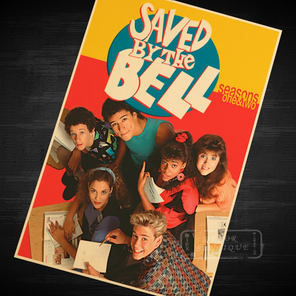 saved by the bell us 90s tv shows vintage retro poster decorative diy wall canvas stickers home. Black Bedroom Furniture Sets. Home Design Ideas