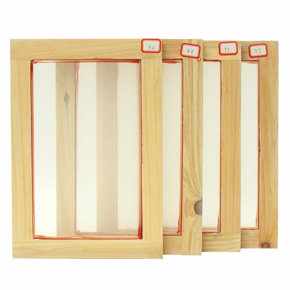 Silk Screen Printing Frame 318*218mm with Mayitr 43T Mesh & 8 Wooden Squeegee DIY Printing Blade Ink Scraper Scratch Board ruru15070 to 218