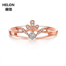 Solid 14k Rose Gold Natural Diamonds Engagement Ring for Women Anniversary Wedding Band Fine Jewelry Gift Party Jewelry