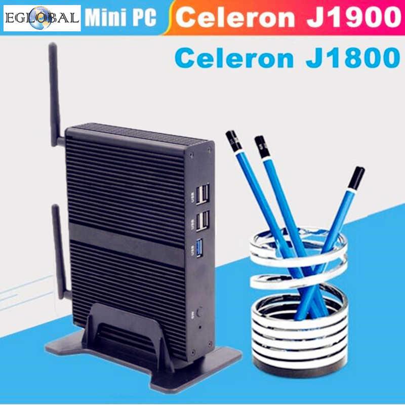 Celeron J1900 J1800 2.41GHz EGLOBAL Mini PC czterordzeniowy wyświetlacz HDMI VGA minikomputer Windows 7 bez wentylatora 1080P TV, pudełko pc