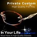 Mulheres Miopia óculos de Armação De Óculos Sem Aro Prescrição Óculos de Dioptria de luxo Strass Alta Limpar Lentes de Ouro Senhoras Óculos de Leitura