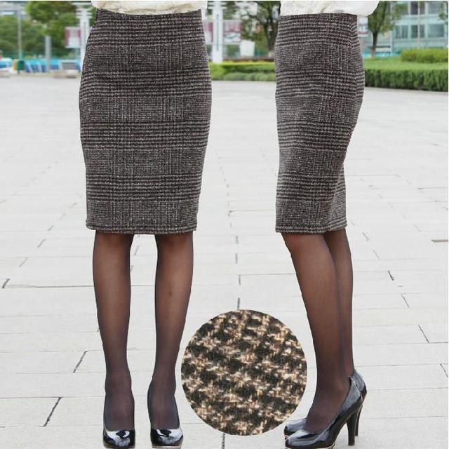 Inverno saia outono recém-nascido queda roupa das mulheres moda feminina do Vintage magro quadril lã xadrez na altura do joelho Midi Pencil saias
