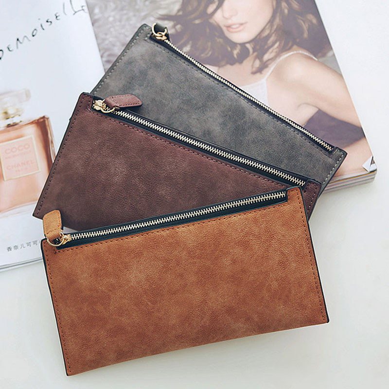 2019 Women Purse Female Simple Coin Card Holder Solid Wallets Ladies New Zip Long Money Bags Clutch Handbag Leather Vintage