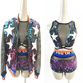 2015 women fashion sexy Gradient sequins hollow sleeve outfit jacket clothing set female singer ds jazz dance costume show wear