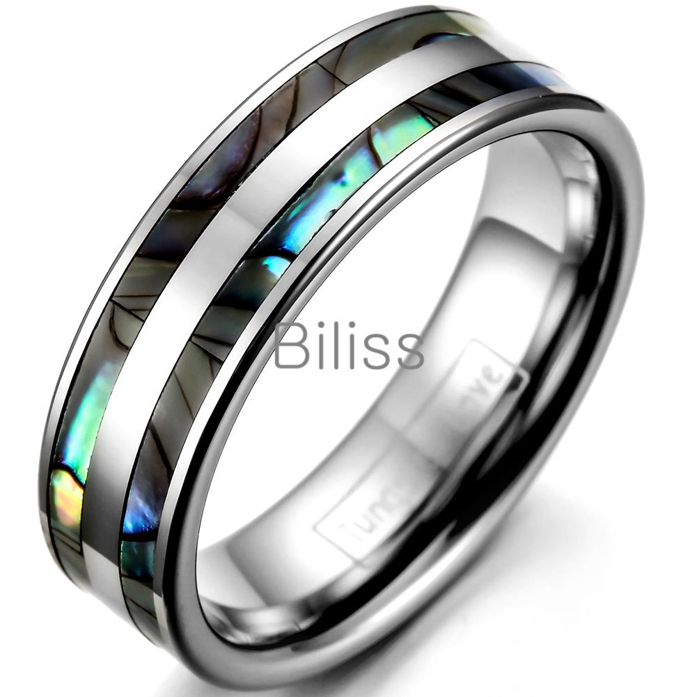 6mm Top Quality Tungsten Carbide Ring with Double Abalone Shell Inlay for Men Engagement Wedding Bands anillos hombre black tungsten carbide with dark wood inlay mens wedding ring