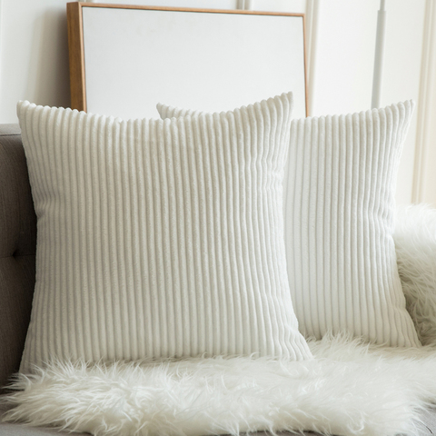Soft Soild Decorative Square Throw Pillow Covers Set Cushion Cases Comfortable Corduroy Pillowcases for Sofa Bedroom Car Lahore