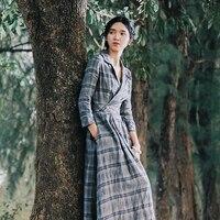 Линетт CHINOISERIE Демисезонный оригинальный Дизайн Для женщин Винтаж Plaid Linen Shirt платья