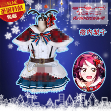 купить Aqours Love live sunshine!  Sakurauchi Riko Christmas Dress Autumn Winter Cosplay Costume A дешево
