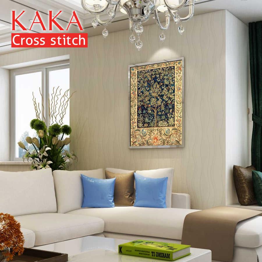 KAKA наборы для вышивки крестиком, 5D текстура золотого дерева, наборы для вышивки рукоделия с напечатанным рисунком, 11CT холст, домашний декор живопись