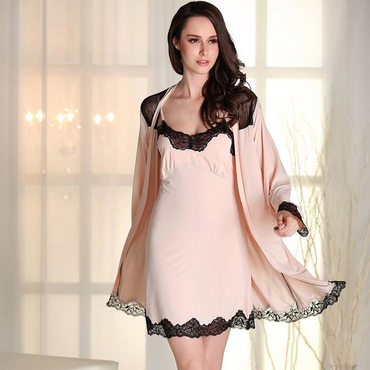 Woman Summer Sleepwear For Women Solid Bath Robe Dressing Gown Solid ...