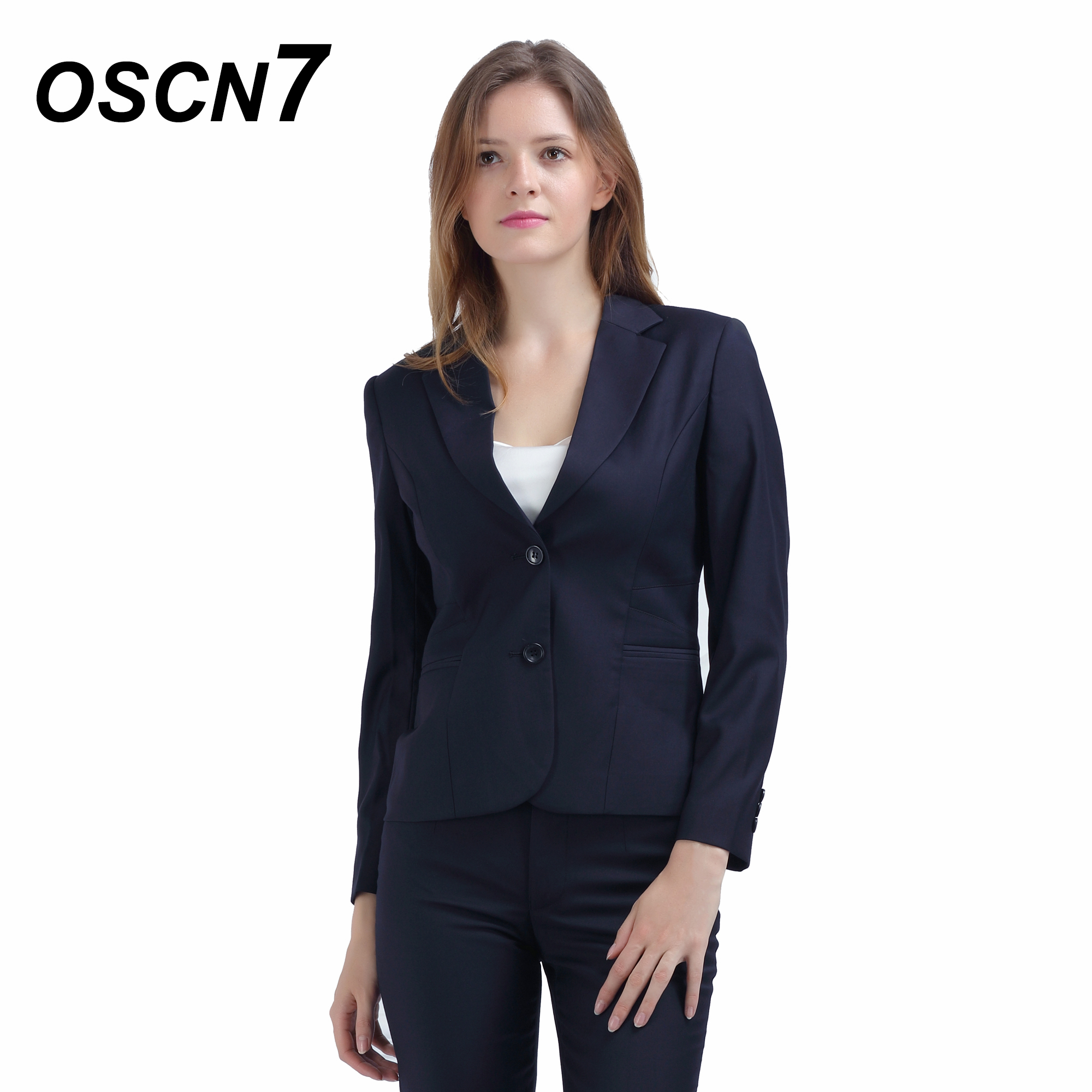 Imported From Abroad Oscn7 Dark Blue Suit Women Solid Color Ol Style Business Tailor Made Ladies Suits Fashion 2018 Office Suits For Women 157