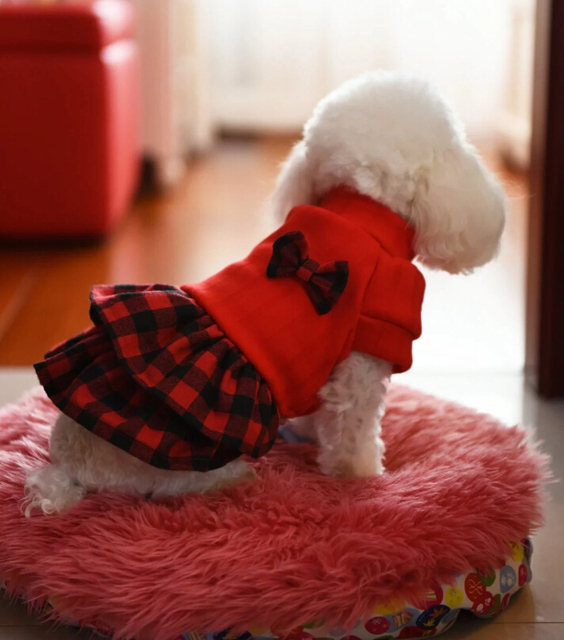 New arrival dogs cats lovely grid princess dress doggy autumn winter warm sweaters dress puppy hoodies pet dog clothes 1pcs
