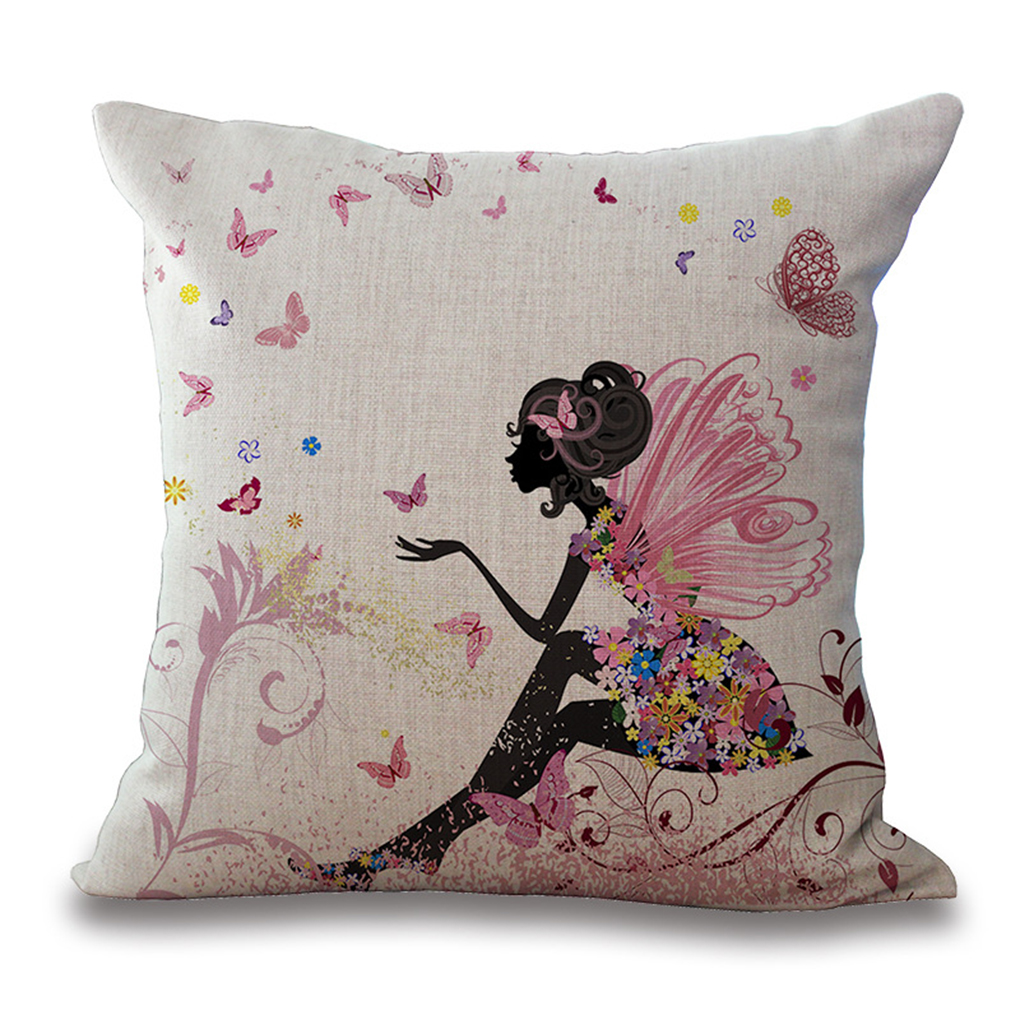 Cover Flowers Fairy Girl With Wing Horse Cotton Linen Throw Pillow Case 6 Color