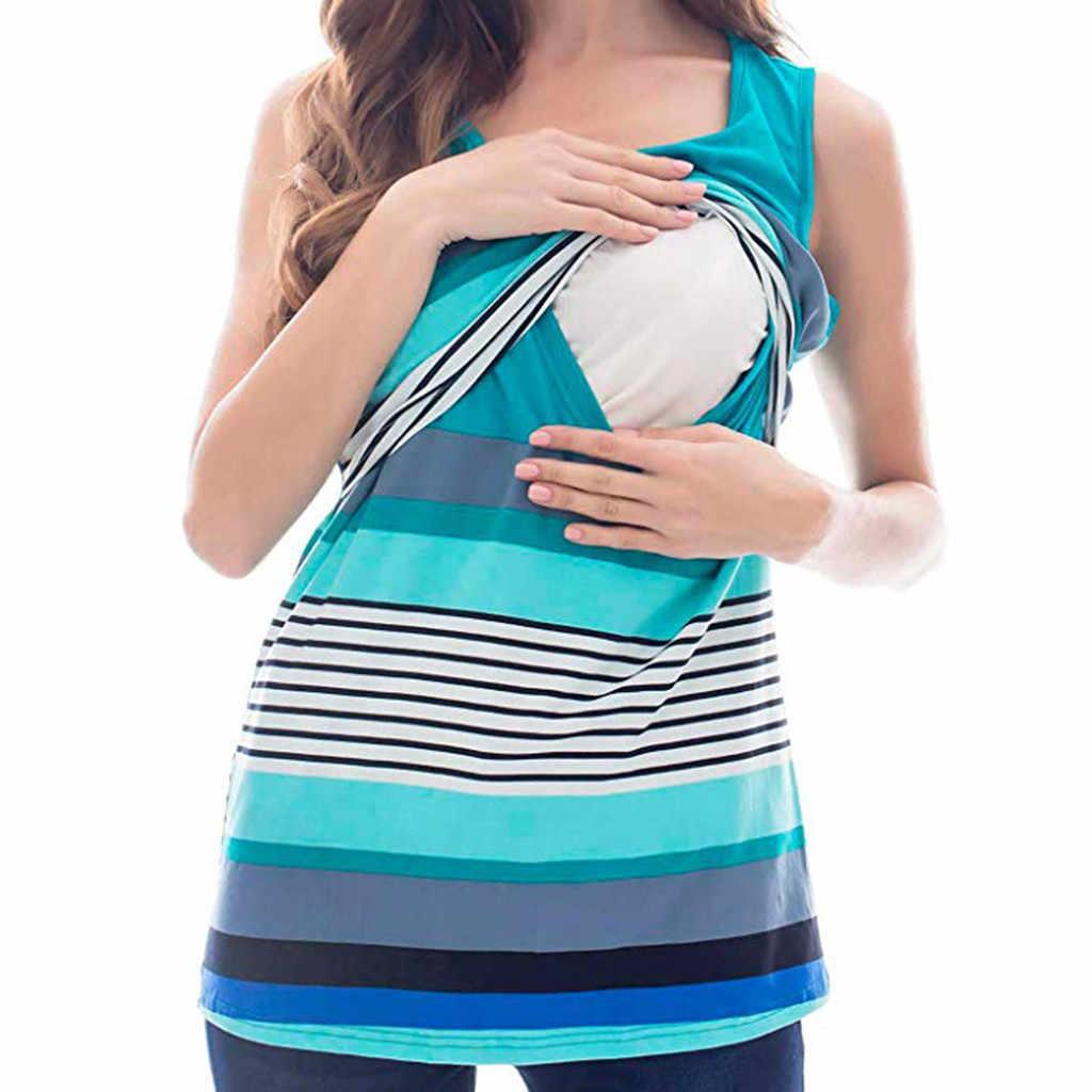 女性の母性シャツ授乳トップス夏のノースリーブストライプ授乳服妊娠中の Tシャツベスト camiseta lactancia WW