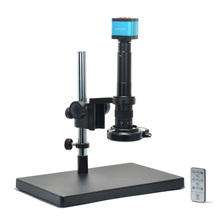 Promo offer Microscope Camera Kit 14MP HDMI HD USB Digital Industry Video Camera+Big Stereo Table Stand +300X C-MOUNT Lens+144 LED Light