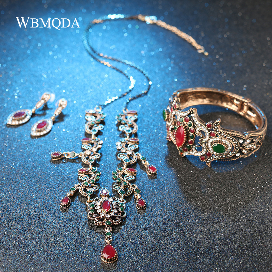 HTB1SZWfe21TBuNjy0Fjq6yjyXXaZ - 4Pcs/lot Boho Turkish Jewelry Sets Vintage Red Necklace Bracelet Earrings Ring Set Indian Crystal Antique Gold Wedding Jewellery