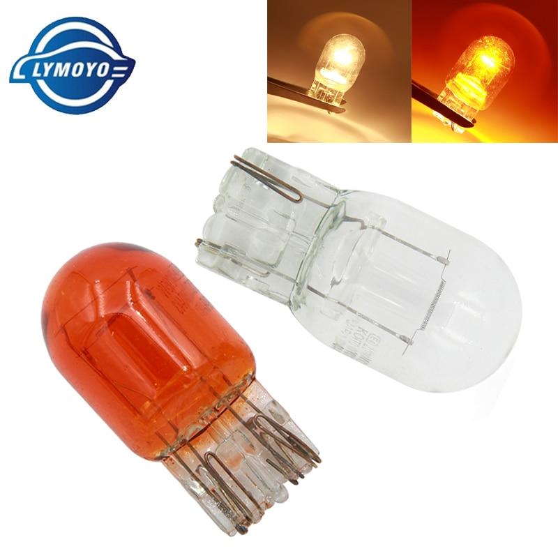 LYMOYO 10 шт. Автомобильная T20 7440 7443 галогенная лампа 12 В w21/5 Вт, теплый белый свет, задсветильник свет, стоп-сигнал, сигнал поворота, DRL 12 В