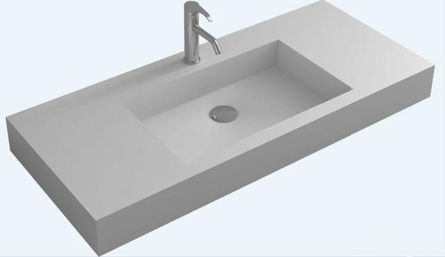 Bathroom Rectangular Wall Hung Vanity Corian Vessel Sink Matt Solid Surface  Stone Washbasin RS38433