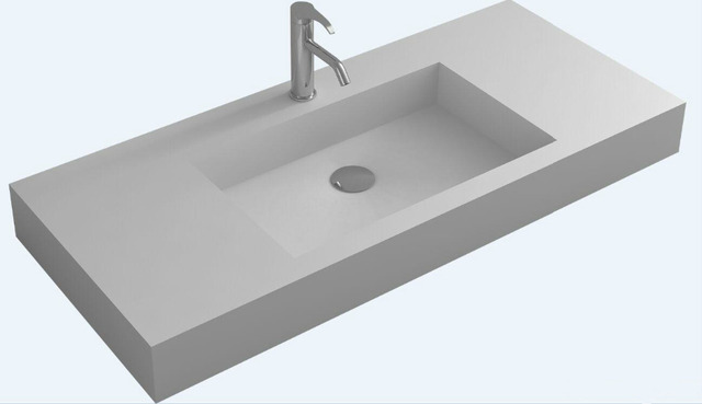 salle de bain rectangulaire mur accroché vanité vasque corian mat ... - Vasque Rectangulaire Salle De Bain
