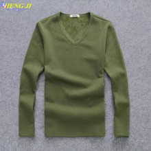 Men's t-shirts, autumn/winter long-sleeve men's t-shirts, trim, v-neck, solid colors, warm – back sweaters, free shipping