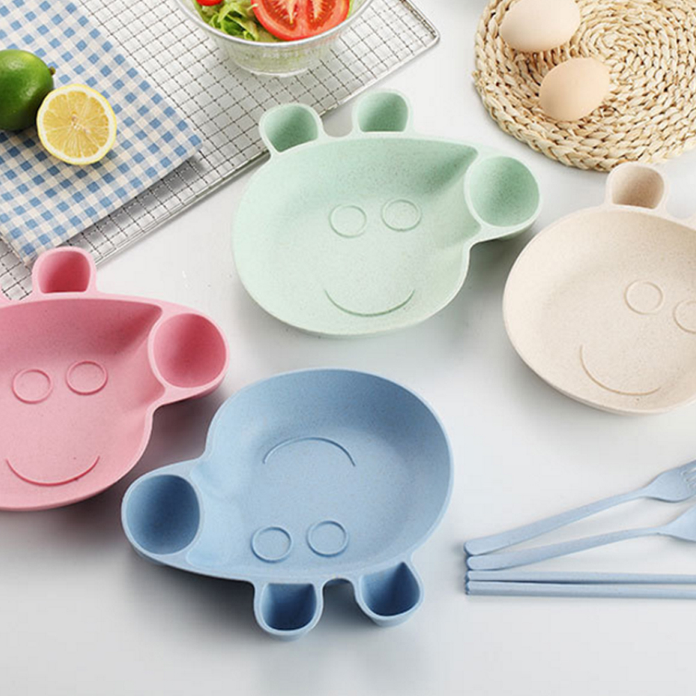 Health Safety Baby Feeding Bowl Creative Cartoon Plate Children Tableware Fruit Dishes Four Sets Of Lunch Boxes Gift Set