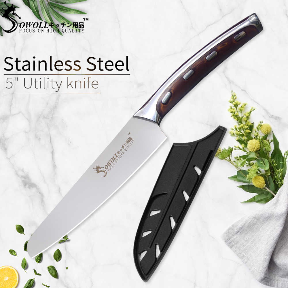 SOWOLL Ultra Sharp 4cr14mov Stainless Steel Kitchen Knife Chef Utility Chopping Knife Resin Fibre Handle Knife Cutter Tools
