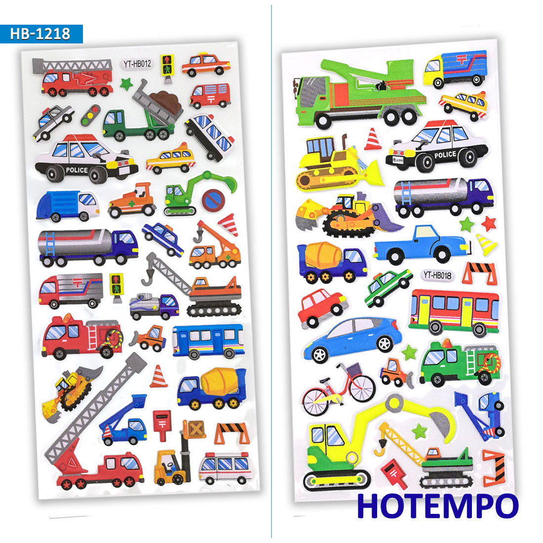 3D Foam Stickers Kids Cute Machineshop Truck City Van Car Bus Vehicle Color Cartoon For Child Gift Cup Stationery Stickers Pack